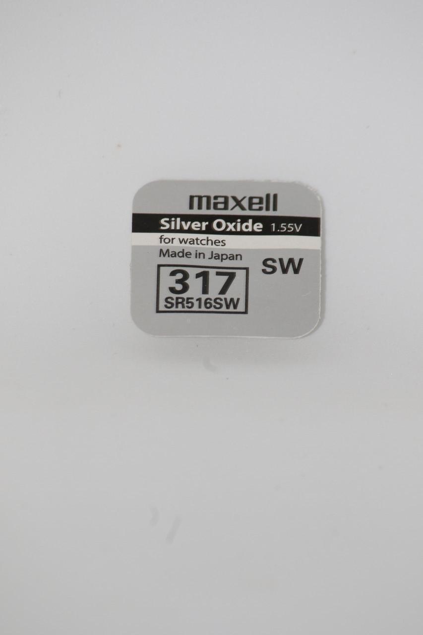 Батарейка для часов. Maxell SR516SW (317) 1.55V 11,5mAh 5.8x1,65mm Серебрянно-цинковая