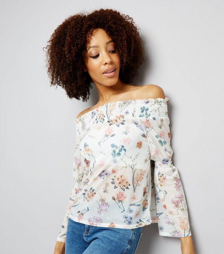 Новая блуза сеточка с открытыми плечами New Look