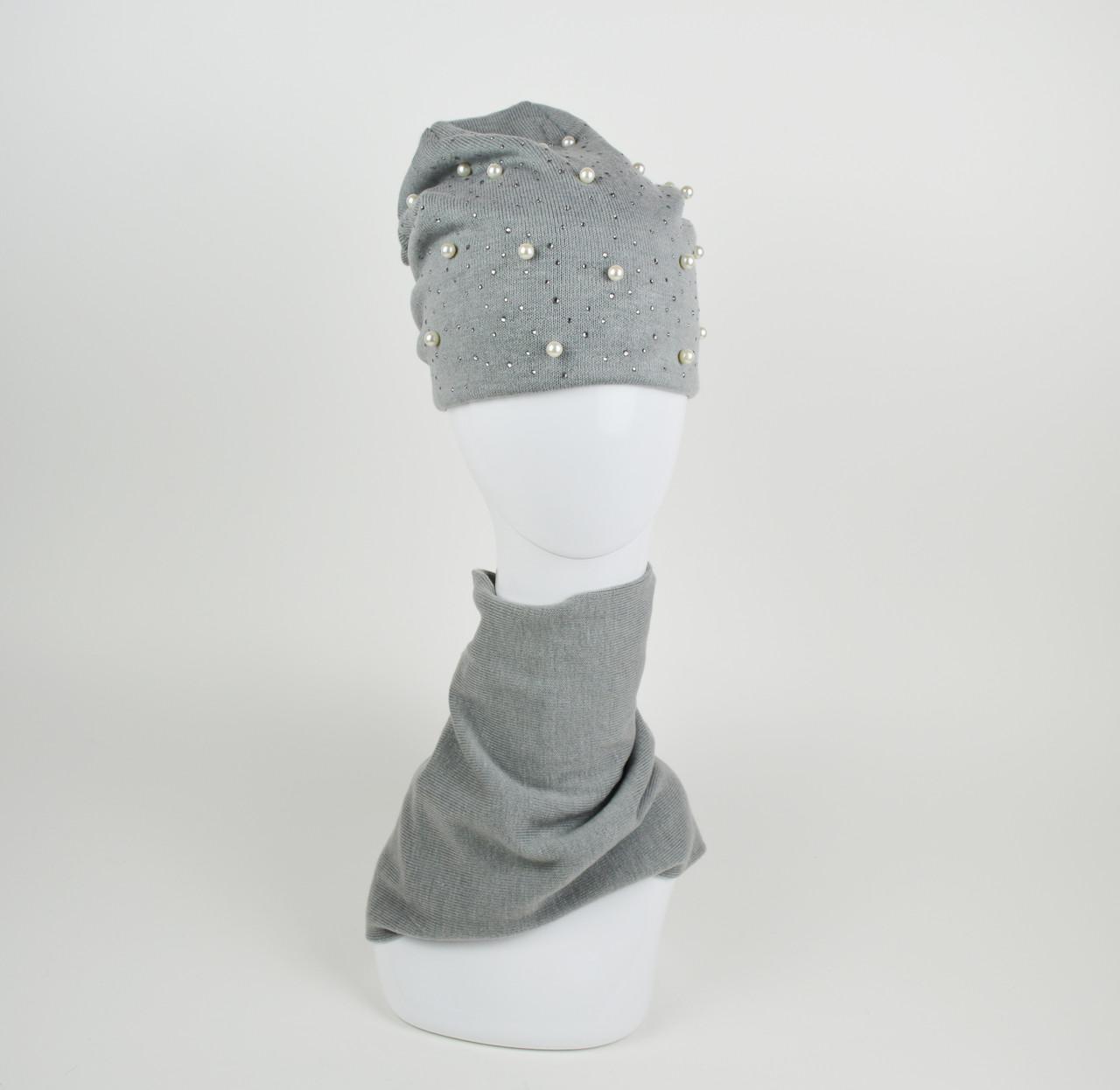 Комплект шапка и хомут серый La'Visio 614