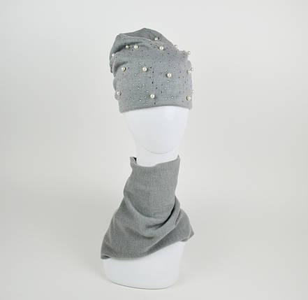 Комплект шапка и хомут серый La'Visio 614, фото 2