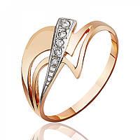 """Золотое кольцо с пятью камнями циркона """"Ребус"""", комбинированное золото, КД0221 Eurogold"""