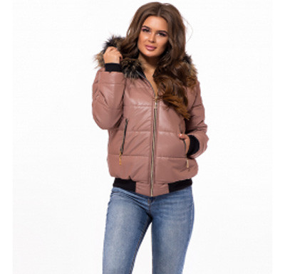 5542250bb6a Купить Короткая куртка женская внизу на резинке коричневая 824745 ...
