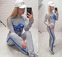 Стильный женский спортивный костюм Baby Турцияиз двухнити с капюшоном S, M, L, XL