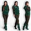 Домашній жіночий флісовий костюм 4ка (піжама) в комплекті з махровими жилеткою і чобітками р. 42-48. Арт-4831