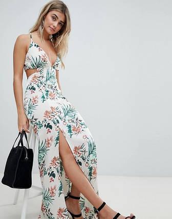 Новое цветочное макси платье с красивой спинкой Missguided, фото 2