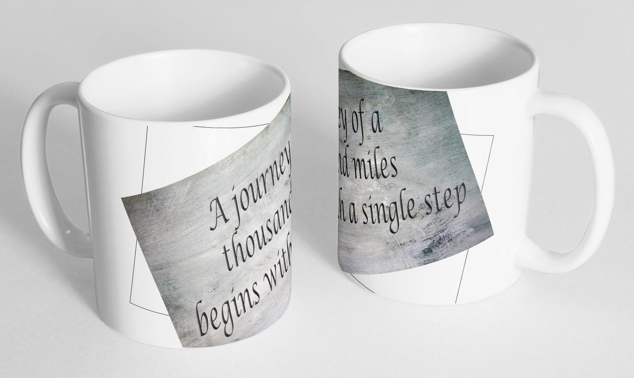 "Мотиваційна чашка ""A journey of thousand miles..."""