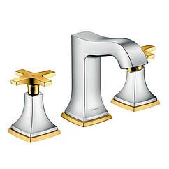 🇩🇪 HANSGROHE Metropol Classic Смеситель для раковины. двухвентильный (хром/золото), арт. 061181