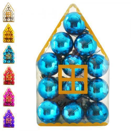 Новогодние ёлочные игрушки Домик 4см 12шт/кор, 8490