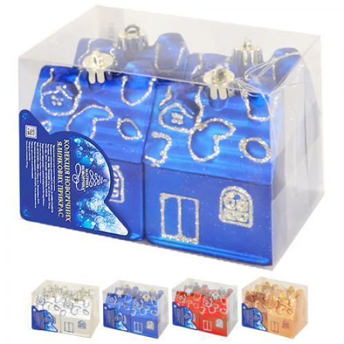 Новогодние ёлочные игрушки 4шт/кор, 8383