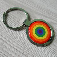 """Брелок для ключей металлический круглый """"Радужный глаз ЛГБТ"""""""