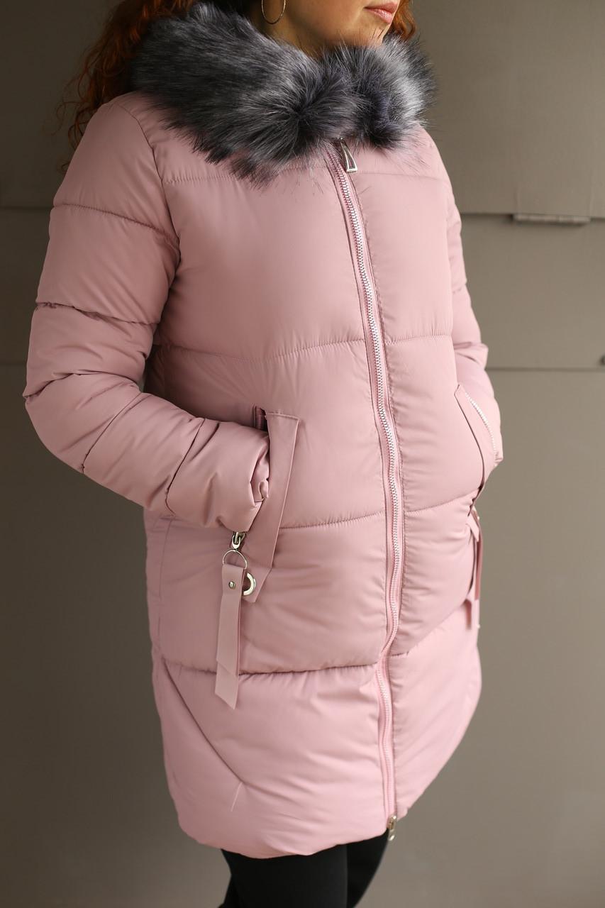 Пальто зимнее женское (пудра)