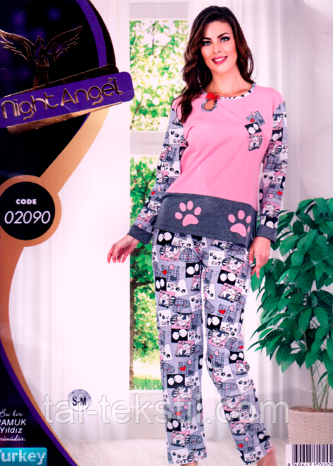 Пижама женская брюки и кофта качество лайкра Турция Night Angel № 02090