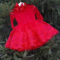 """Пышное платье """"Красное кружево"""" ( размер от 86 до 122), фото 1"""