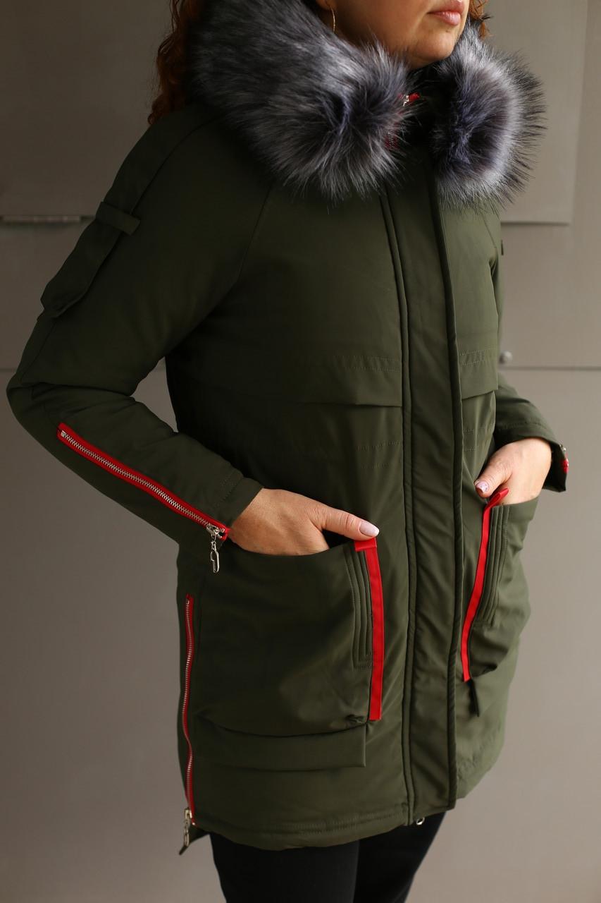 Пальто зимнее женское Xuechen (Хаки )