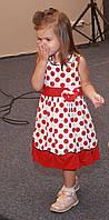 Детское платье для девочек,21GOROSHEK р. 128 см Бело-красный