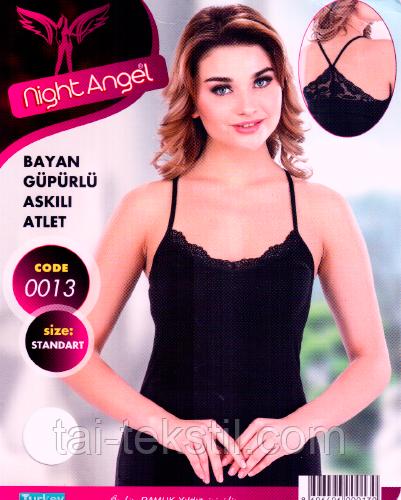 Night Angel женская майка отличного качества узкая бретель (Черный,белый цвет) № 0013