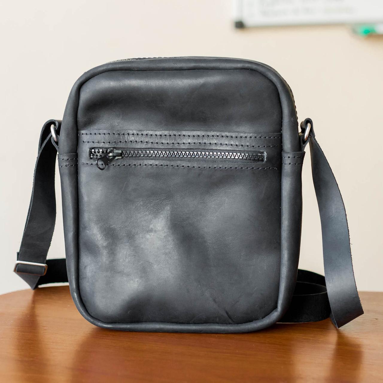 97646320bb74 Мужская кожаная сумка из натуральной кожи ручной работы Revier черная