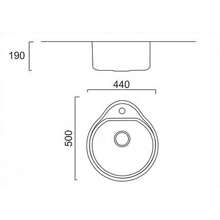 Кухонная мойка ULA из нержавеющей стали 4450 ZS Decor 08мм, фото 2
