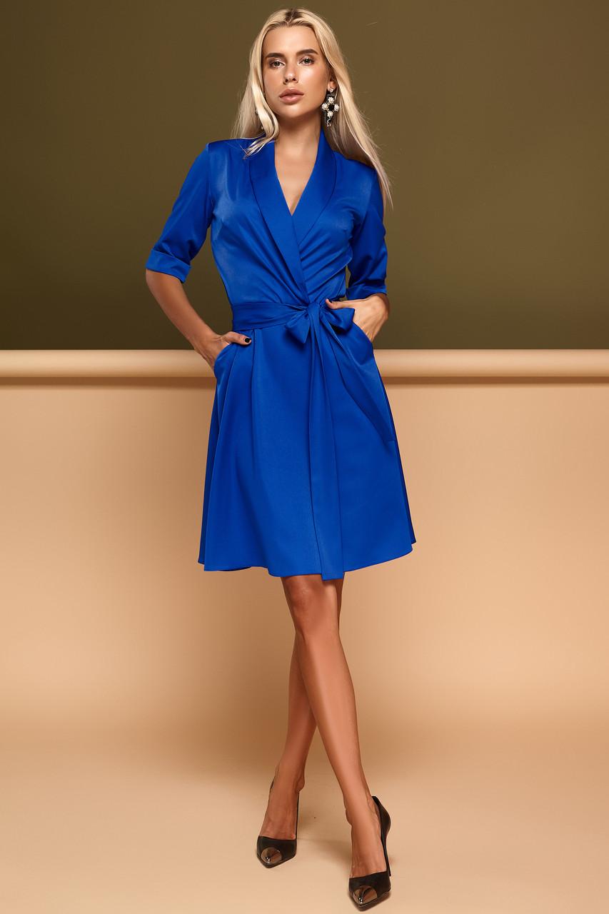 47e6113f66a Красивое модное платье осень зима цвет  электрик
