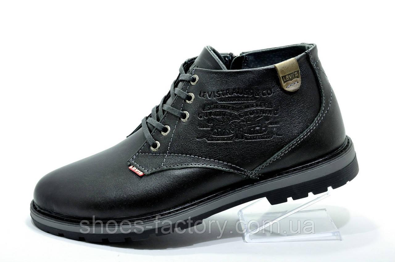 Мужские ботинки в стиле Levi's, зимние на меху Black