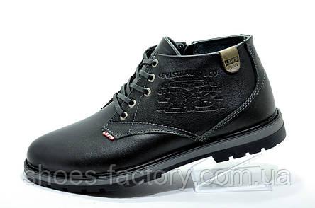 Мужские ботинки в стиле Levi's, зимние на меху Black, фото 2