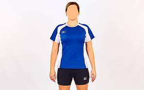 Форма волейбольная женская MIZUNO SUCCESS  (Coolmax, шорты-хлопок, р-р S-XL(42-48), синий-белый) Replica