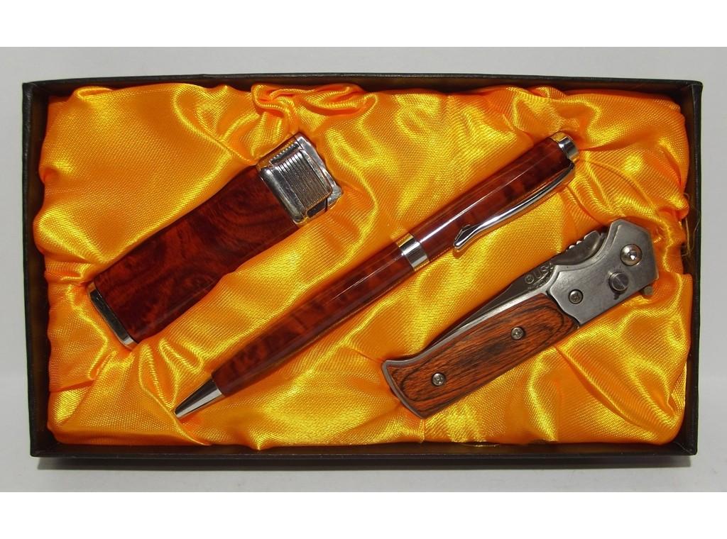 Подарочный набор EGLANTINE зажигалка+ручка+нож