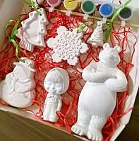Новогодний набор гипсовых фигурок для творчества №18 Різдвяний набір гіпсових фігурок для творчості №18