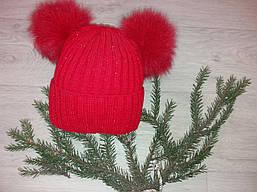 Детская вязаная шапка на девочку (натуральный бубон),на флисе,размер 52-56