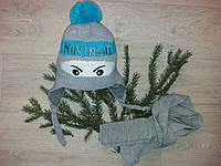 Детский зимний комплект шапка и шарф для  мальчика на флисе, фото 1