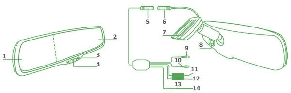 Gazer MM506 элементы управления зеркалом заднего вида с монитором