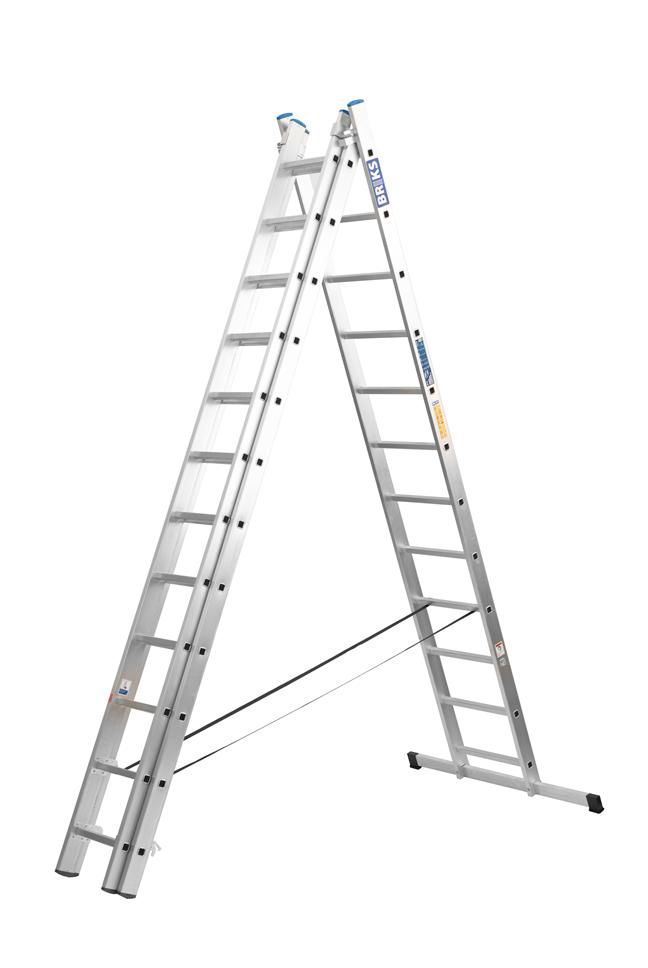 Лестница алюминий 3х15 BRIKS 1120 см 25х100 мм