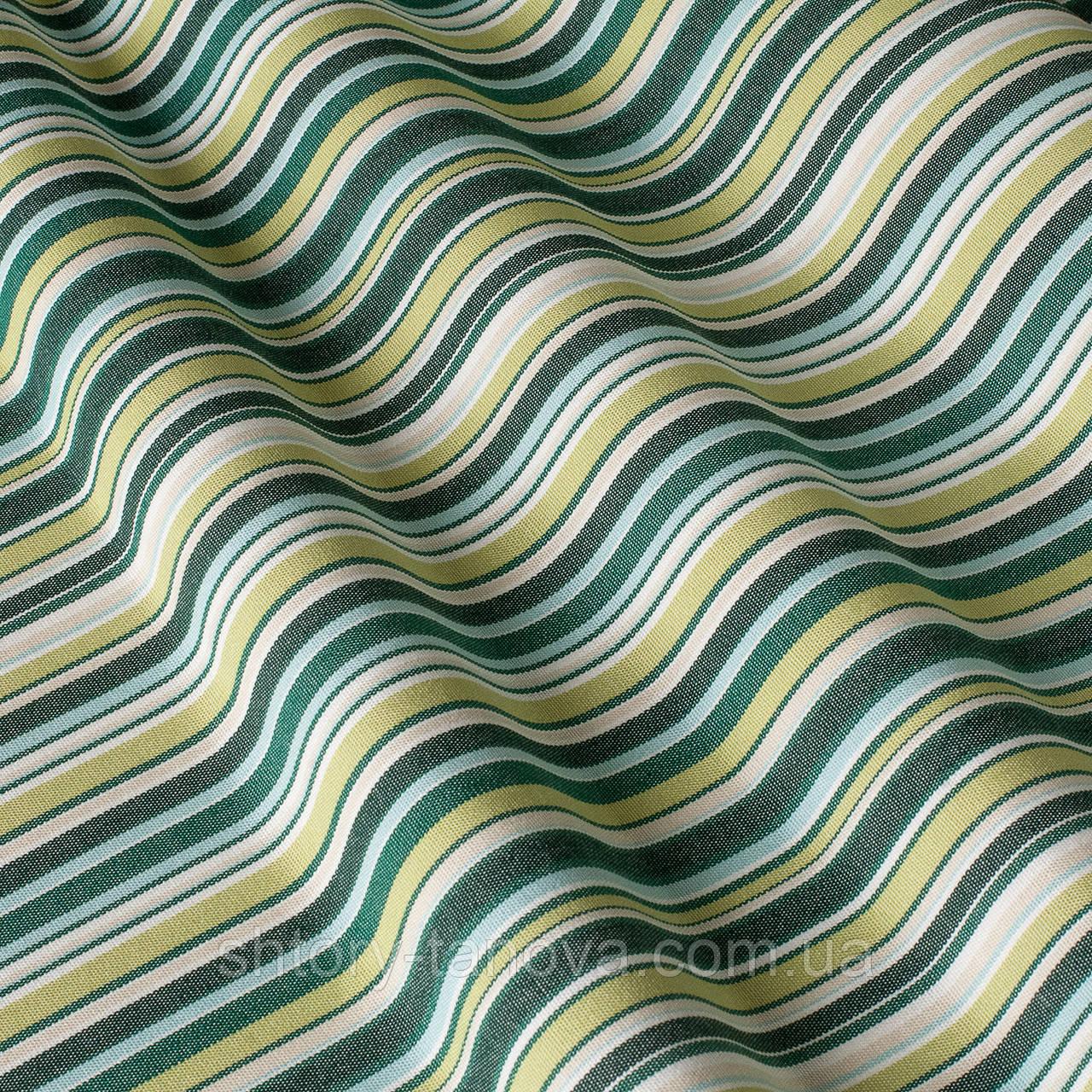 Вулична тканина в салатово-зелену смугу на білому