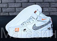 Мужские высокие кроссовки Nike Air Force 1 Mid Just Do It White Найк Аир Форс белые, фото 2