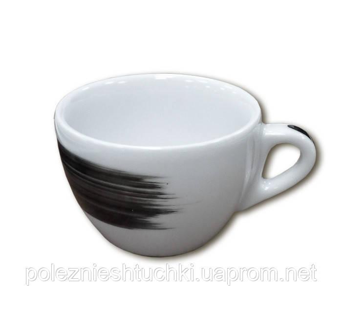 """Чашка 180 мл. фарфоровая, белая с черной полоской """"B"""" Verona/Palermo Millecolori, Ancap"""