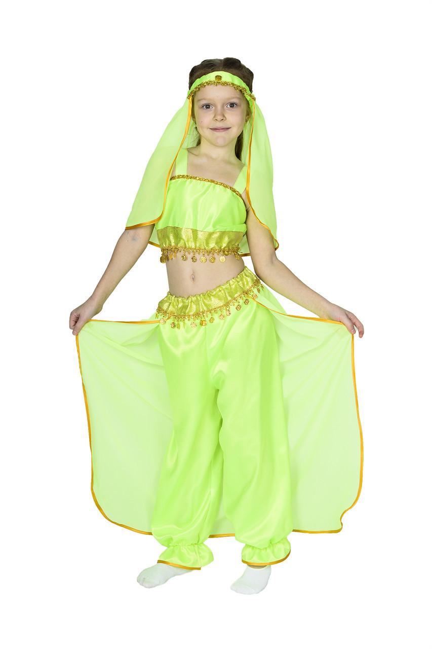 Костюм принцессы Жасмин, восточной красавицы салатовый S - рост 110-116
