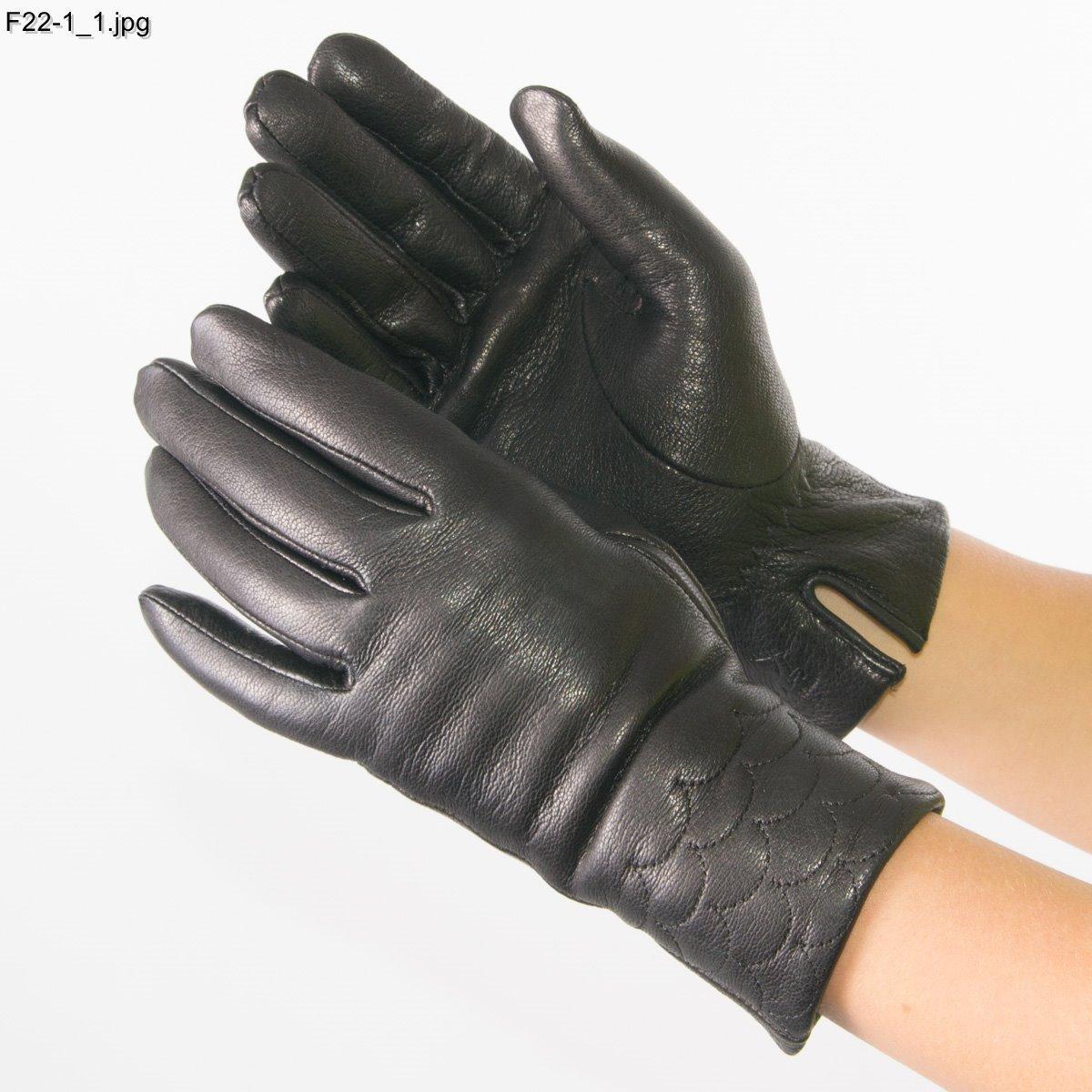 Оптом жіночі рукавички з оленячої шкіри на плетеній вовняної підкладці - F22-1