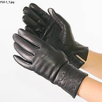Оптом женские перчатки из оленьей кожи на вязаной шерстяной подкладке - F22-1, фото 1