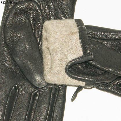 Оптом жіночі рукавички з оленячої шкіри на плетеній вовняної підкладці - F22-1, фото 3