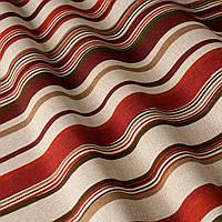 Ткань для штор в полоску бордово-коричневого цвета на белом