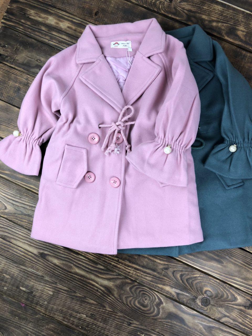 Пальто для девочки (розовое,морская волна)