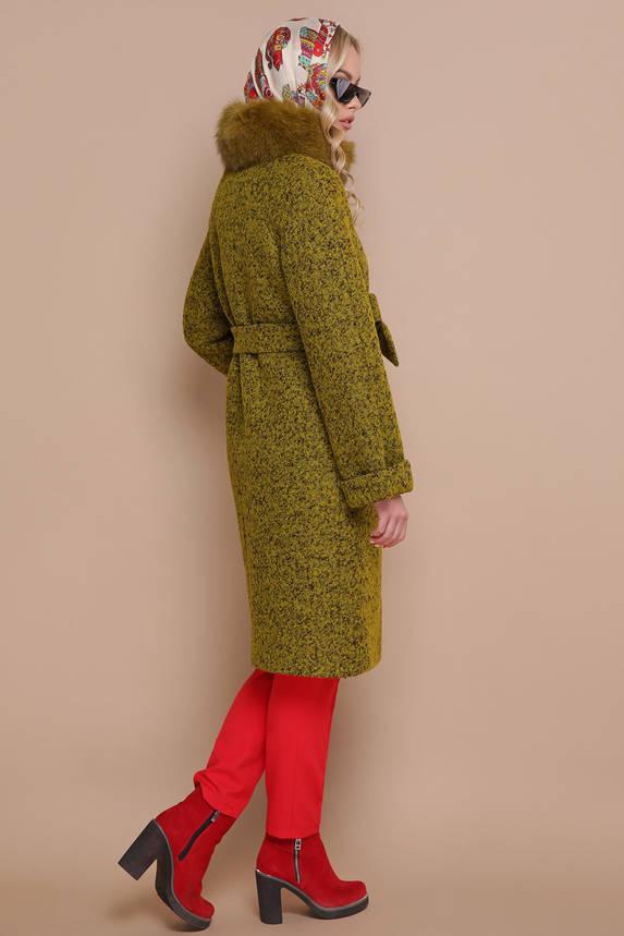 Женское зимнее пальто с меховым воротником хаки, фото 2