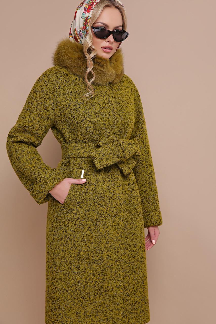 Женское зимнее пальто с меховым воротником хаки