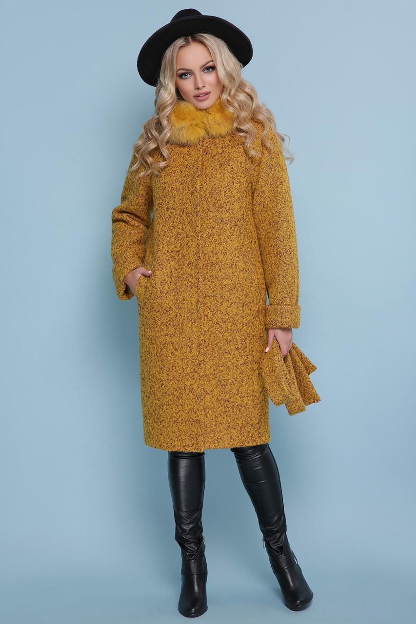 1e24fda00fd Женское зимнее пальто с меховым воротником горчичное - Интернет-магазин  одежды ALLSTUFF в Киеве