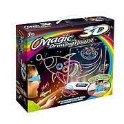 Набор 3D доска для рисования в темноте с подсветкой Космос / Ракета / Планеты