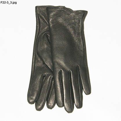 Оптом женские перчатки из оленьей кожи на вязаной шерстяной подкладке - F22-3, фото 3