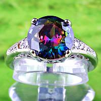 Кольцо, серебро, цирконий Мистический топаз, р18