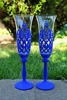 Бокалы свадебные Bohemia Буржуа 190 мл синий