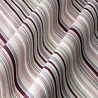 Ткань для штор в полоску фиолетово-серого цвета на белом фоне