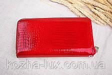 Кошелёк женский кожаный темно красный на молнии, натуральная кожа, фото 2